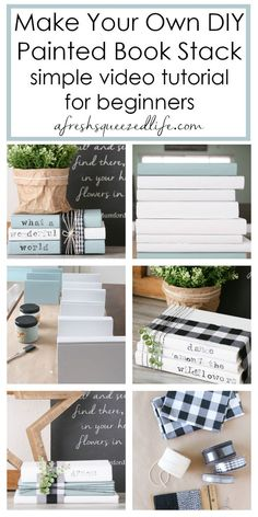 Did you know that you can use old, vintage book to make DIY home decor? Painted and stamped books are great for adding to your farmhouse, rustic look. This easy project is a cute way to decoratively add quotes and words throughout your home! Diy Home Crafts, Decor Crafts, Diy Home Decor, Room Decor, Old Book Crafts, Diy Craft Books, Books As Decor, Farmhouse Books, Farmhouse Decor