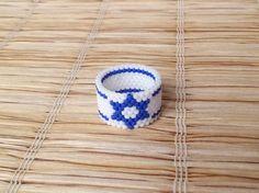 Star of David Seed Beads Ring Beaded Ring Flag by EleganceAndFun