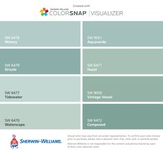 I found these colors with ColorSnap® Visualizer for iPhone by Sherwin-Williams: Watery (SW 6478), Drizzle (SW 6479), Tidewater (SW 6477), Waterscape (SW 6470), Aquaverde (SW 9051), Hazel (SW 6471), Vintage Vessel (SW 9050), Composed (SW 6472).