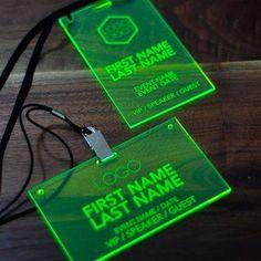 Laser Engraved Fluorescent Green Conference and Event Badges Laser Cutter Ideas, Laser Cutter Projects, Event Corporate, Conference Badges, 3d Laser Printer, Graphisches Design, Cafe Design, Gravure Laser, Futuristic Technology