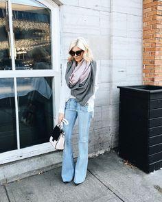 """Flare denim kinda day @hartdenim  { love my infinity scarf from @kristanorrisco }"""