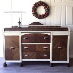 Outstanding Buffet in Linen and Gel Stain Blend Retro Furniture Makeover, Furniture Update, Art Deco Furniture, Funky Furniture, Refurbished Furniture, Repurposed Furniture, Painted Furniture, Furniture Design, Painted Dressers