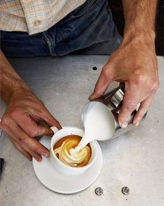 Espresso steamed milk pour. The art of Combining crema and microfoam