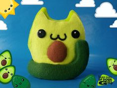 Kawaii Avocado Cat Food Plushie Cute Stuffed Cat Unique Cat