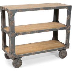 $400 Aurelle Home Natural Wood Rolling Shelf - Overstock™ Shopping - Great Deals on Aurelle Home Media/Bookshelves