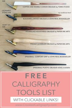 A detailed, clickable list of my favorite modern calligraphy tools, including calligraphy pens, pointed nibs, calligraphy inks and papers! With descriptions and links so you know exactly where to buy them. A must-have for calligraphy beginners. Best Calligraphy Pens, Calligraphy Lessons, Calligraphy Supplies, Calligraphy Paper, Calligraphy Tutorial, Copperplate Calligraphy, Learn Calligraphy, Calligraphy Alphabet, Modern Calligraphy