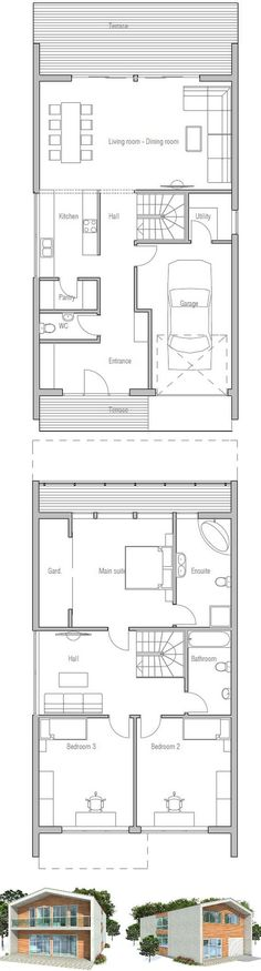 Narrow House in Modern Contemporary Architecture. Floor Plans from… Modern Floor Plans, Modern House Plans, Small House Plans, Modern House Design, Architecture Design, Contemporary Architecture, Modern Contemporary, Home Office Layouts, House Layouts