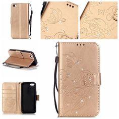 iPhone Rhinestone Embossed Leather Case