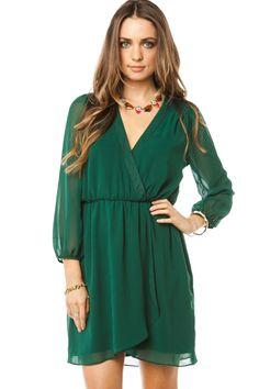 ShopSosie Style : Telles Wrap Dress in Green