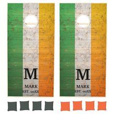 Wood IRISH FLAG Personalized name and Monogram Cornhole Set - tap, personalize, buy right now! #CornholeSet #ireland, #shamrock, #green, #clover, #country, Wood Design, Custom Design, Cross Beam, Cornhole Set, Epic Games, School Colors, Green Bag, Irish, Flag