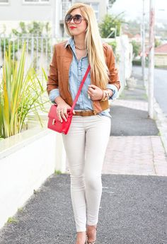 camel jacket over denim shirt and white pants