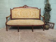 Antique French Oak Framed Louis Phillipe Aubusson Sofa C1890