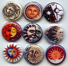 SUN MOON Celestial Wicca Pagan 9 Pinback 1 Buttons by Yesware, $10.00