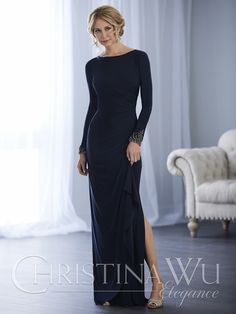 A long jersey gown that accents your figure and topped by a crew neckline, this stunning design has long sleeves with beaded cuffs, a ruched mid-waist, and a slight slit. Zip up the center back with an invisible zipper.