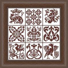 9 ornamental heraldic ornament - cross stitch Chart sampler PATCHWORK 1 monochrome Italian replica Filet Crochet
