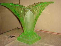 "Items similar to Art Deco German Walther & Sohne ""Greta"" Green Uranium Glass Vase on Etsy Glass Texture, Fountain Pen, Glass Vase, German, Bubbles, Art Deco, Retro, Design, Deutsch"