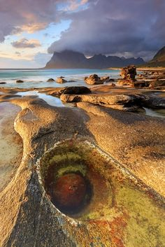 The beach of Utakleiv before sunset! Lofoten, Norway