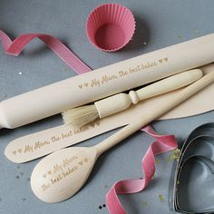 Personalised Mothers Day Gift A full size set of solid wood baking utensils, personalised of course with any message you like (up to a max of 30 characters). Just let us know what wording you would like and whether you would like the hearts included at the beginning and at the end of