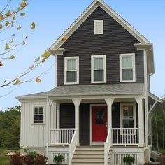 iron gray james hardie and red door, white vertical panel side room.