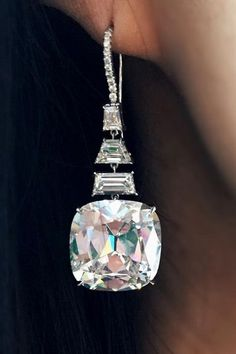 Spectacular cushion-cut diamond earrings of 20 carats each. Being offered on…