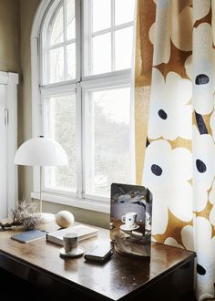 Marimekko fabrics - Buy online from Finnish Design Shop. Discover Unikko and other Marimekko fabrics for a modern home! Small Wooden Shelf, Wooden Shelves, Spiegel Design, Marimekko Fabric, Kitchen Fabric, Shades Of Beige, Curtain Fabric, Home And Living, Living Room