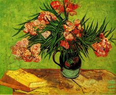 Vincent Van Gogh - Majolica Jar with Branches of Oleander. August 1888. Oil on canvas.
