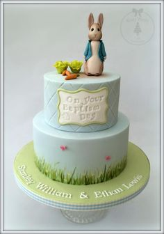 Peter Rabbit Baptism Cake