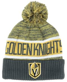 348cd0ecbef Authentic Nhl Headwear Vegas Golden Knights Goalie Knit Hat - Black  Adjustable