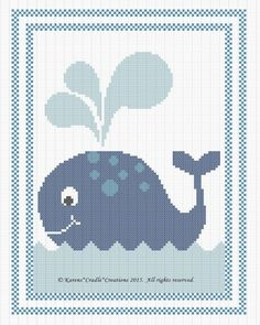 WHALE BABY Counted Cross Stitch Pattern Chart *EASY* #KARENSCRADLECREATIONS