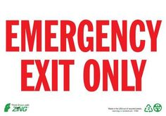 Sign, Emergency Exit Only, 7x10, Aluminum