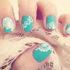 Take inspiration from your wedding dress and go for lace print nails. Ideal for a romantic, vintage wedding.
