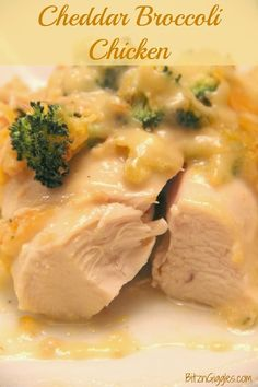 Cheddar Broccoli Chicken - Moist, tender chicken topped with a tasty cheesy, broccoli sauce. {BitznGiggles.com}