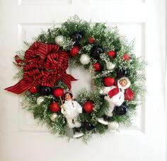 Red White and Black Wreath * Holiday Wreath * Byers Choice Caroler Wreath * Christmas Wreath * Christmas Decor * Winter Wreath * Door Wreath by englishrosedesignsoh on Etsy