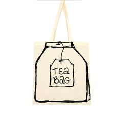 cotton tote bag tea bag by mylouloubags on Etsy