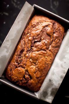 Nutella Swirled Banana Bread - A CUP OF JO #nutella #bananabread #recipe #yum