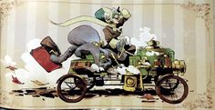 Just a car guy : an octopus on a pennyfarthing, and riding in a steam car... I love Steam Punk!
