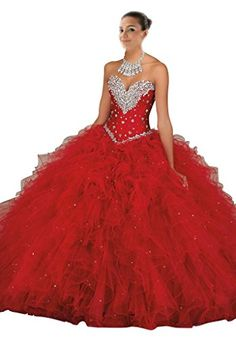 Mollybridal Women's Crystal Ruffles Tulle Quinceanera Dress Ball Gowns Red 16 * Want to know more, click on the image.
