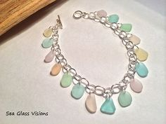 Sea Glass Dangle Bracelet Pastel California by SeaGlassVisions, $30.00