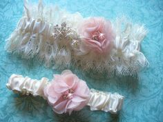 A personal favorite from my Etsy shop https://www.etsy.com/listing/261065815/ivory-and-blush-wedding-garter-set
