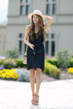summer outfit, beach outfit, night out outfit, vacation outfit, getaway outfit, casual outfit, street chic style - white fedora, panama hat, black v-neck dress, black cami dress, black slip dress, brown platform sandals, black sunglasses, light pink shoulder bag