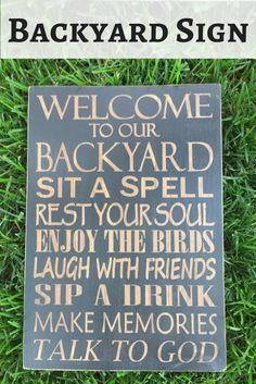 "This is so cute! Perfbect for the backyard deck or patio! 11x16"" Hand Painted Wood Sign, Welcome to our Backyard,"