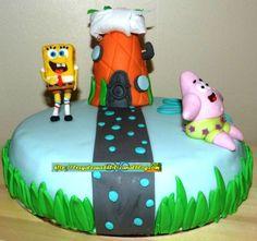 Bob l'éponge et Patrick - Gâteau décoré à la pâte à sucre