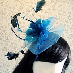 Derby Church Wedding Birthday Prom Party Millinery Hair Fascinator Turquoise Mesh Feather Flower Top Hat Clip Brooch