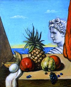 Le opere di Giorgio de Chirico Giorgio de Chirico Minerva e l'oggetto misterioso, 1973 Matita e carboncino su cartone, cm 51x36,5 Roma,