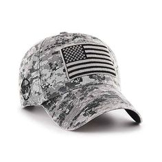 Operation Hat Trick Gray Digital Camo 47 Brand Adjustable USA Flag Hat - Great Prices And Fast Shipping at Detroit Game Gear Baseball Buckets, Metal Baseball Cleats, Camouflage, Detroit Game, Baseball Uniforms, Baseball Gloves, Baseball Caps, Jean Délavé, Base Ball
