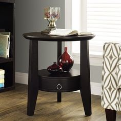 Monarch Specialties Cappuccino Round End Table