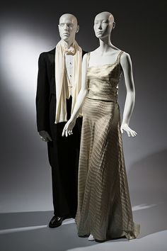 Wood Carlson Co. tailcoat, black wool, 1935, USA, Gown, metallic, silk, circa 1935, USA, © 2013 The Museum at FIT