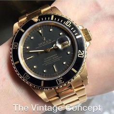 Rolex Submariner 18K YG Black Nipple Dial 16808 WhatsApp: 852-96991000 Email: info@thevintageconcept.com by thevintageconcept #rolex #daytona #rolexdaytona #watchesformen
