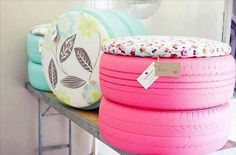 tires stacked and turned into cute outdoor seating!