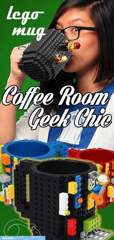 """Just when you thought life couldn't get any better... this quirky LEGO coffee mug happened to you. """"Thank you universe."""" Let your retro nostalgia run wild, as you creatively design the exterior of this awesome lego compatible mug!"""